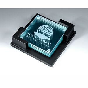 Jade Glass Coaster Set in Black Wooden Box